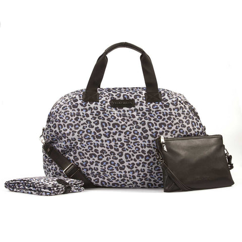 Tiba + Marl Raf Leopard Holdall Baby Change Bag showing change mat and pouch.