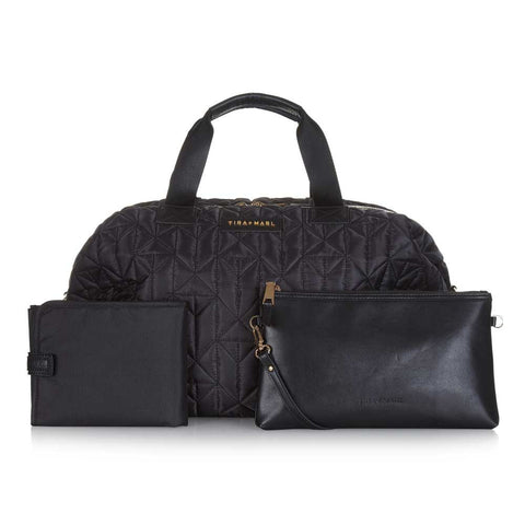 Tiba + Marl Raf Black Holdall Baby Change Bag - With Accessories