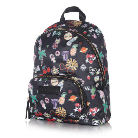 Side of Tiba + Marl Sticker Print Mini Elwood Backpack - Yellow Lolly