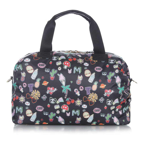 Back of Tiba + Marl Sticker Print Mini Raf Holdall Baby Change Bag - Yellow Lolly