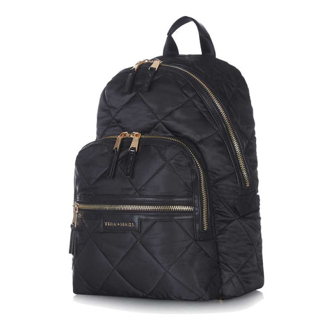 Side view of Tiba + Marl Black Quilt Elwood Baby Change Backpack - Yellow Lolly
