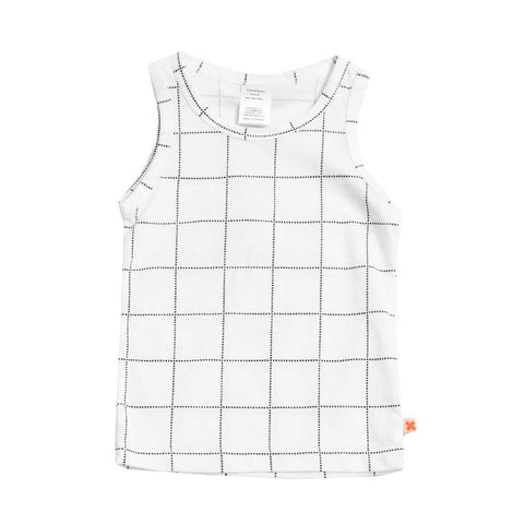 Tinycottons White Grid Tartan Tank Top at Yellow Lolly