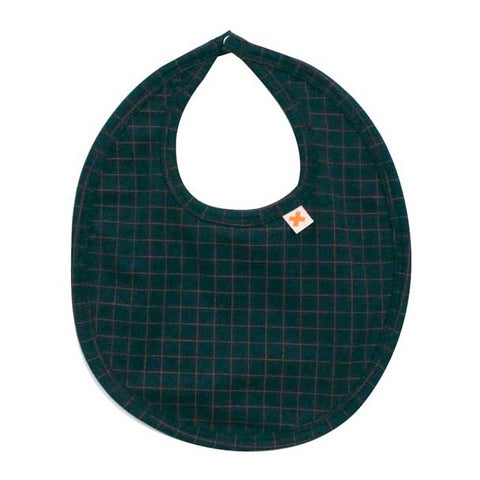 Tinycottons Dark Teak Grid Baby Dribble Bib at Yellow Lolly