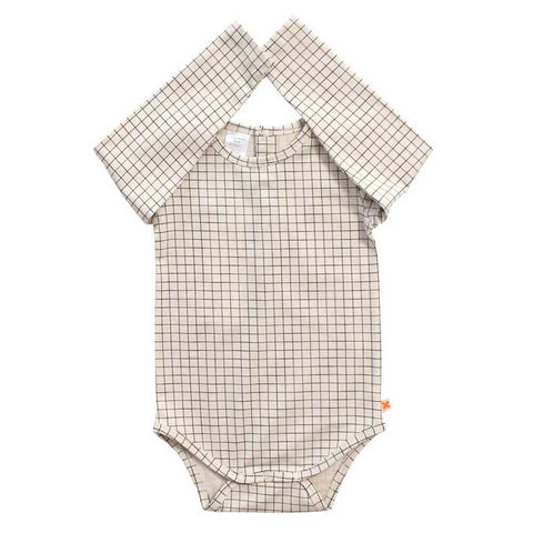 Tinycottons Off White Grid Organic Cotton Baby Body at Yellow Lolly