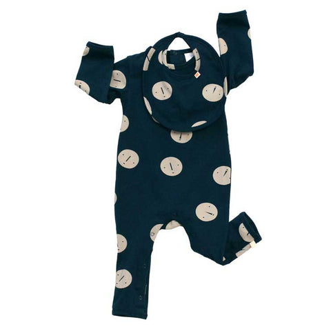 Tinycottons Blue Faces Organic Cotton Baby Romper - Layout