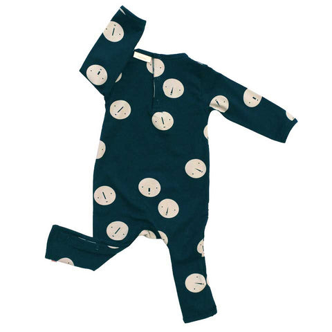 Tinycottons Blue Faces Organic Cotton Baby Romper - Rear View