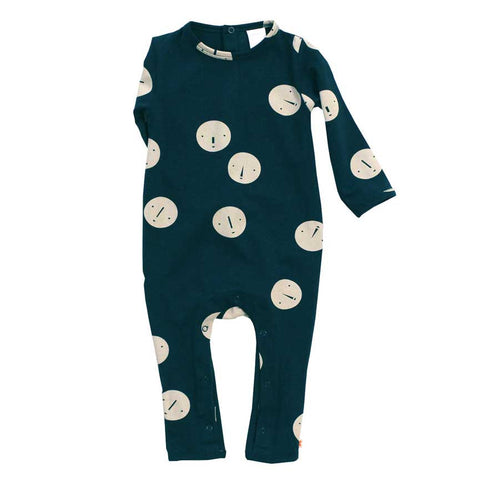 Tinycottons Blue Faces Organic Cotton Baby Romper at Yellow Lolly