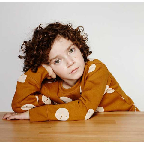 Boy Wearing Tinycottons Brown Faces Oversized Sweatshirt