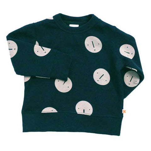 Tinycottons AW16 Navy Faces Organic Cotton Sweatshirt at Yellow Lolly