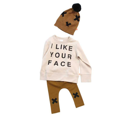Tinycottons UK I like Your Face Organic Cotton Sweatshirt - Flat Lay