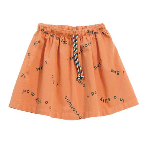 Tinycottons Many Words Terracotta Cotton Skirt at Yellow Lolly