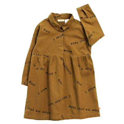 Tinycottons Brown Many Words Cotton Shirt Dress at Yellow Lolly
