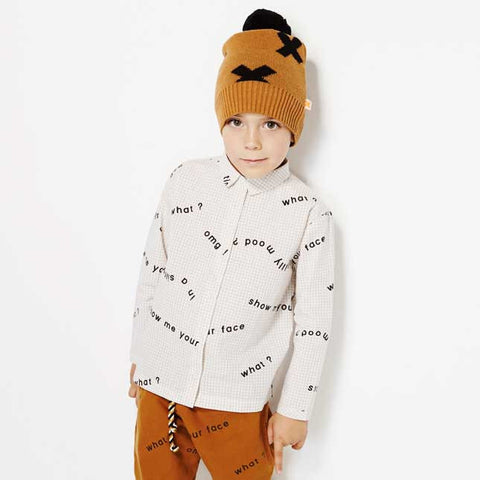Boy Wearing Tinycottons White Many Words Cotton Shirt