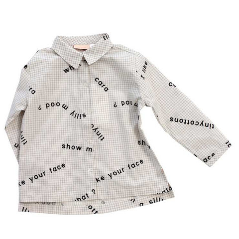 Tinycottons White Many Words Cotton Shirt at Yellow Lolly