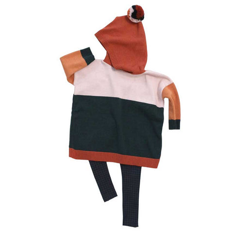 Tinycottons Navy Kids Colour Block Hooded Poncho