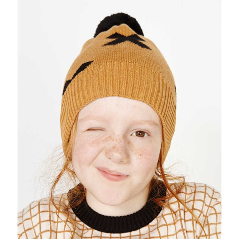 Girl Wearing Tinycottons Brown Logo Organic Beanie Pom Pom Hat