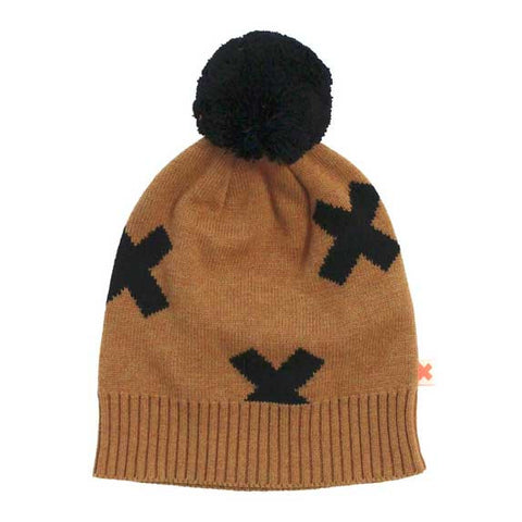 Tinycottons Brown Logo Organic Beanie Pom Pom Hat at Yellow Lolly