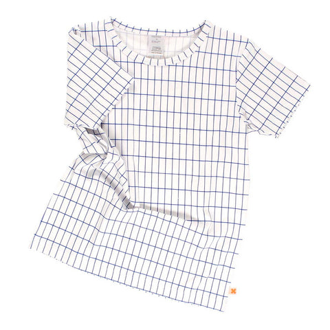Tinycottons Off White, Blue Grid Short Sleeved Kid's T Shirt