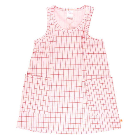 Tinycottons Blush Grid Print Girl's Vest Dress at Yellow Lolly