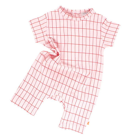 Tinycottons Pink Big Grid Baby Short Sleeved Playsuit