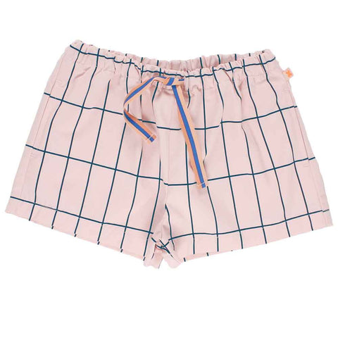 Tinycottons Blush Pink Big Grid Shorts at Yellow Lolly