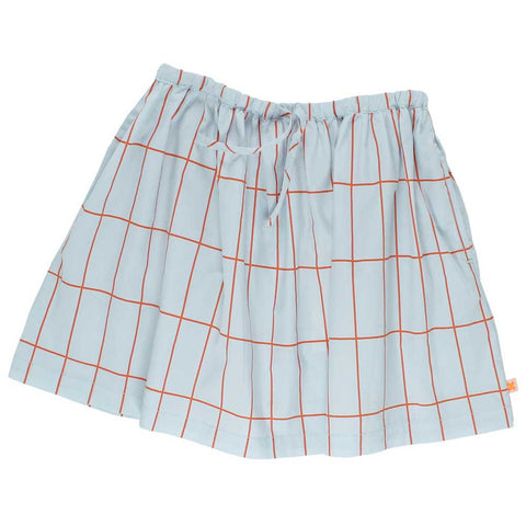Tinycottons Pale Blue Big Grid Skirt at Yellow Lolly