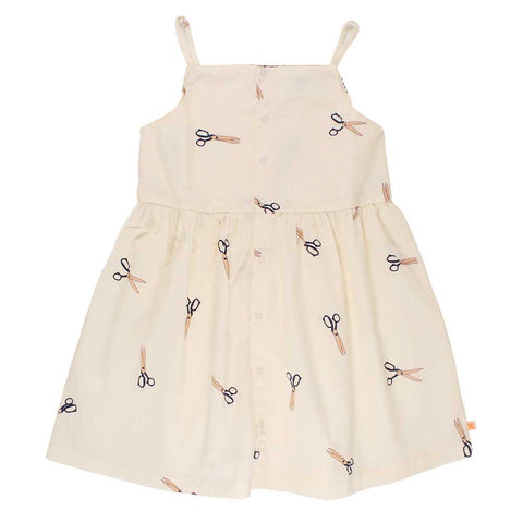 Tinycottons Off White Cotton Scissors Girl's Strap Dress