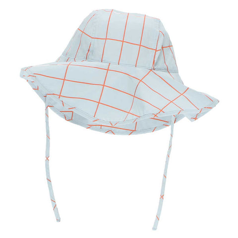 Tinycottons SS17 Light Blue Grid Cotton Kid's Sunhat at Yellow Lolly