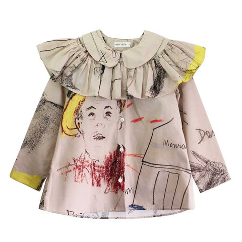 Wolf & Rita Alzira Faces Blouse - Yellow Lolly