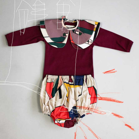 Outfit featuring Wolf & Rita Margarida Bordeaux Baby Body - Yellow Lolly