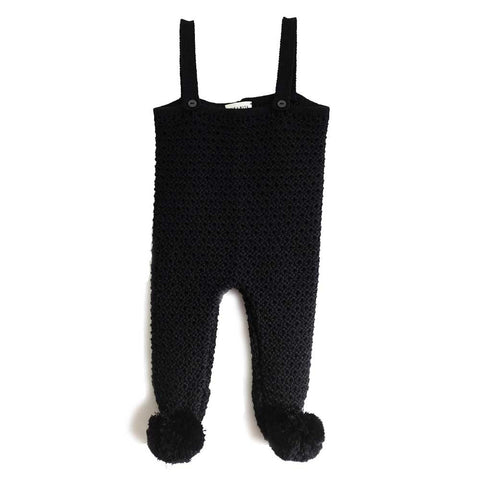 Wolf & Rita Emanuel Black Knitted Baby Dungarees - Yellow Lolly