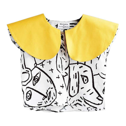 Yellow and white Wolf & Rita Marisa Camoanimaux Cropped Blouse - Yellow Lolly