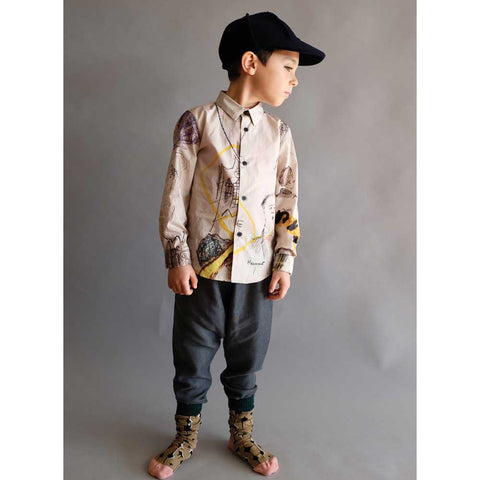 Boy wearing Wolf & Rita Domingos Dark Grey Trousers - Yellow Lolly