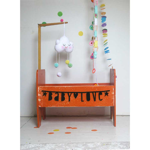A little Lovely Company Black Letter Banner - On A Crib