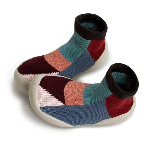 Collégien Burgundy Geometric Kids Slipper Socks