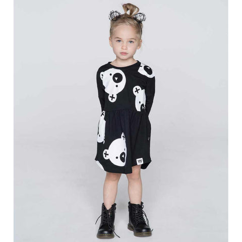 Girl Wearing HuxBaby UK Black Big Falling Bears Swirl Dress