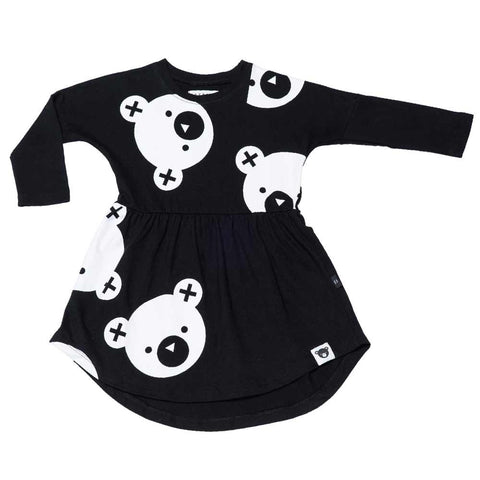 HuxBaby AW16 Black Big Falling Bears Swirl Dress at Yellow Lolly