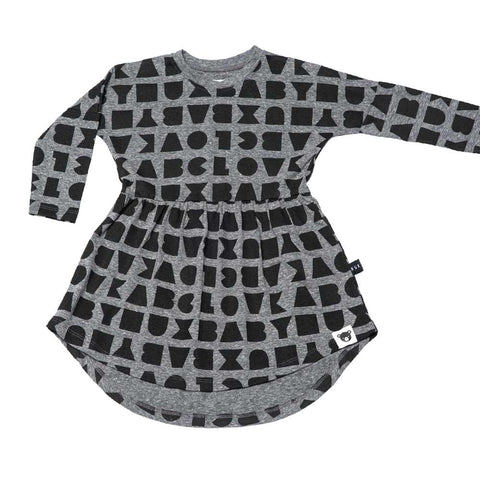 HuxBaby UK Grey Black Alphabet Swirl Dress at Yellow Lolly