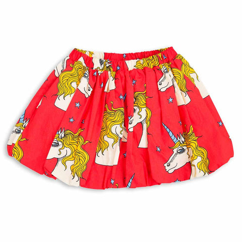 Mini Rodini SS17 Red Unicorn Star Organic Cotton Girl's Skirt
