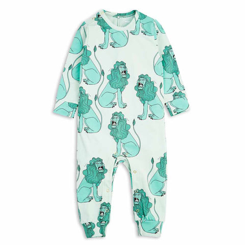 Mini Rodini SS17 Light Green Lion Organic Cotton Baby Romper