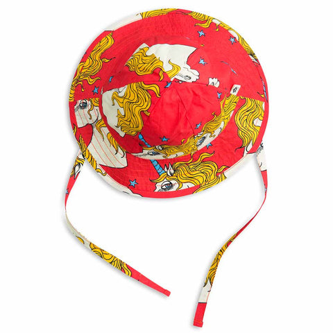 Mini Rodini SS17 Red Unicorn Star Organic Cotton Kid's Sun Hat
