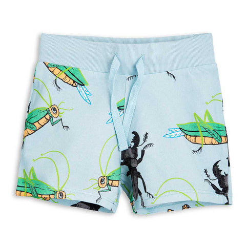 Mini Rodini SS17 Light Blue Insects Child's Sweat Shorts at Yellow Lolly