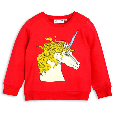 Mini Rodini Red Unicorn Sweatshirt - Yellow Lolly