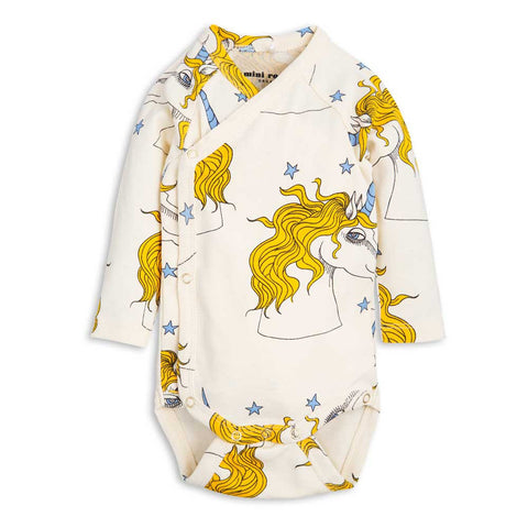 Mini Rodini SS17 Off White Unicorn Star Baby Wrap at Yellow Lolly