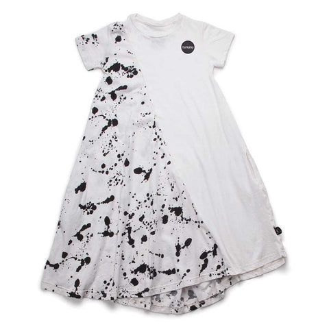 Nununu SS17 White Splash 360 Girl's Dress at Yellow Lolly