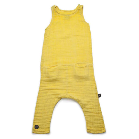 Nununu SS17 Yellow Cotton Muslin Kids Playsuit at Yellow Lolly