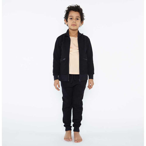 Boy Wearing Popupshop Black Organic Baggy Leggings