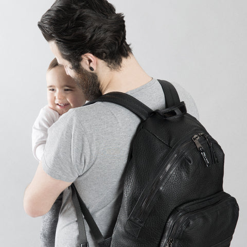 Father, baby and Tiba + Marl Black Elwood Baby Change Backpack - Yellow Lolly