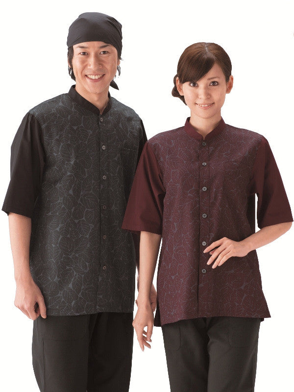 Leaf Pattern Collarless Shirts