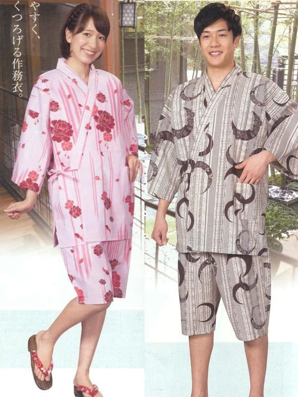 Rose (Pink) & Crescent Moon (Brown) Yukata Samue